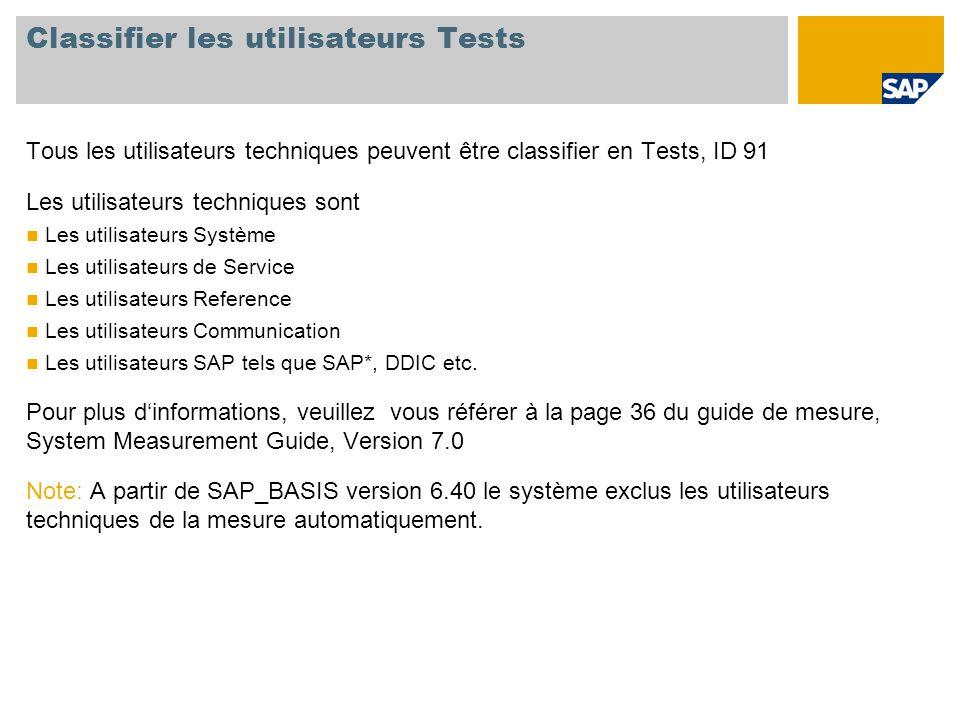 Classifier les utilisateurs Tests Tous les utilisateurs techniques peuvent être classifier en Tests, ID 91 Les utilisateurs techniques sont Les utilisateurs Système Les utilisateurs de Service Les utilisateurs Reference Les utilisateurs Communication Les utilisateurs SAP tels que SAP*, DDIC etc.