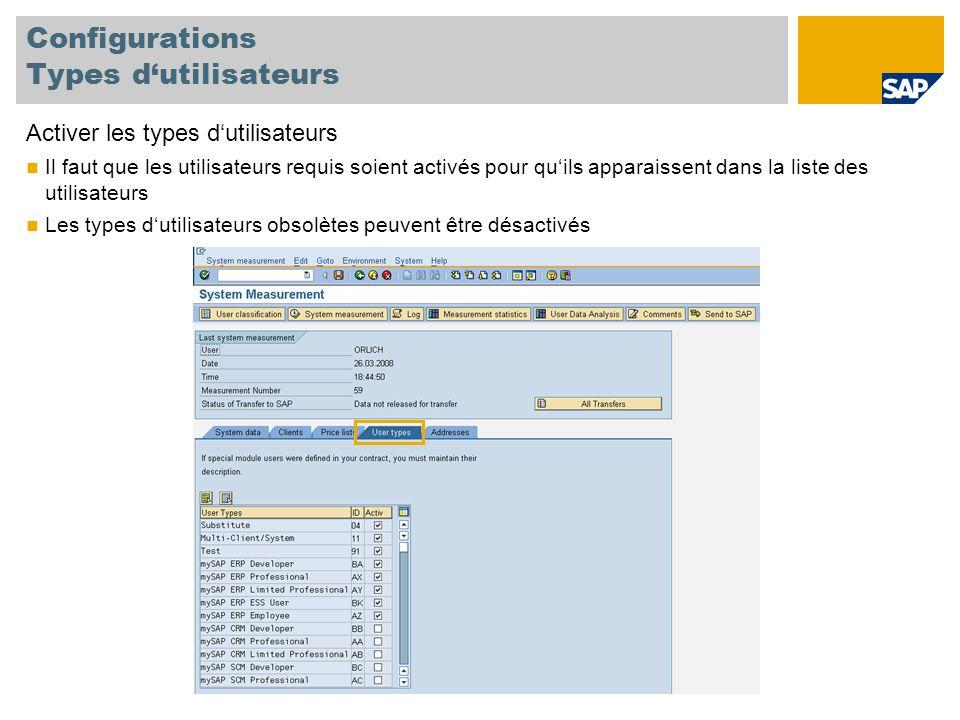 """Classifier les utilisateurs Multiclient/-system Chaque utilisateur a besoin d'une seule license Si un utilisateur est créé dans plusieurs clients ou systèmes, il doit être classifier en temps que multiclient/-system pour éviter de le compter en double L'utilisateur principal (payant) doit être classifier dans un système productif Pour plus d'informations, veuillez-vous référer à la page 35 du guide de mesure, SAP System Measurement Guide, Version 7.0 System PR1 User """"SMITH Professional User System ZX2 User """"SMITH Multiclient/system User System TST User """"SMITH Multiclient/system User"""