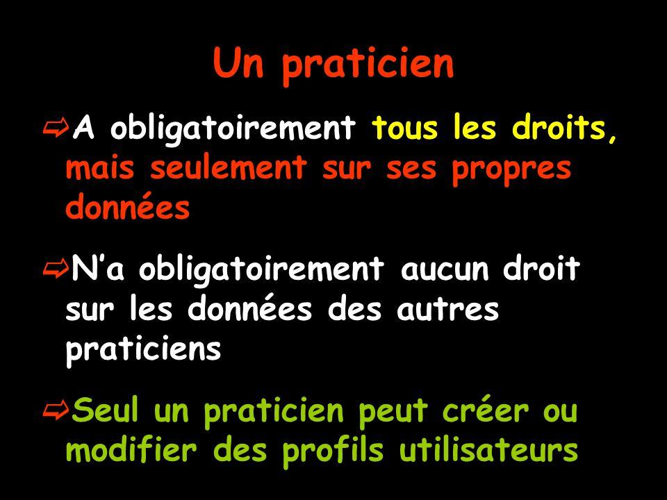 Un praticien  A obligatoirement tous les droits, mais seulement sur ses propres données  N'a obligatoirement aucun droit sur les données des autres praticiens  Seul un praticien peut créer ou modifier des profils utilisateurs