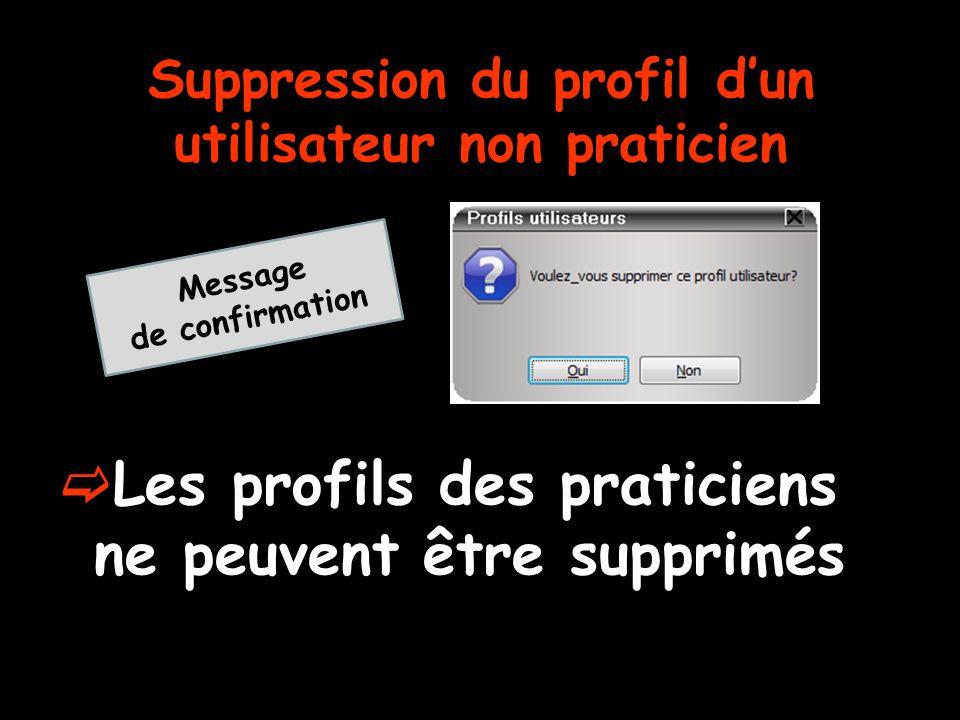 Suppression du profil d'un utilisateur non praticien  Les profils des praticiens ne peuvent être supprimés Message de confirmation