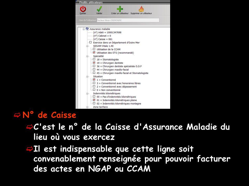  N° de Caisse  C est le n° de la Caisse d Assurance Maladie du lieu où vous exercez  Il est indispensable que cette ligne soit convenablement renseignée pour pouvoir facturer des actes en NGAP ou CCAM