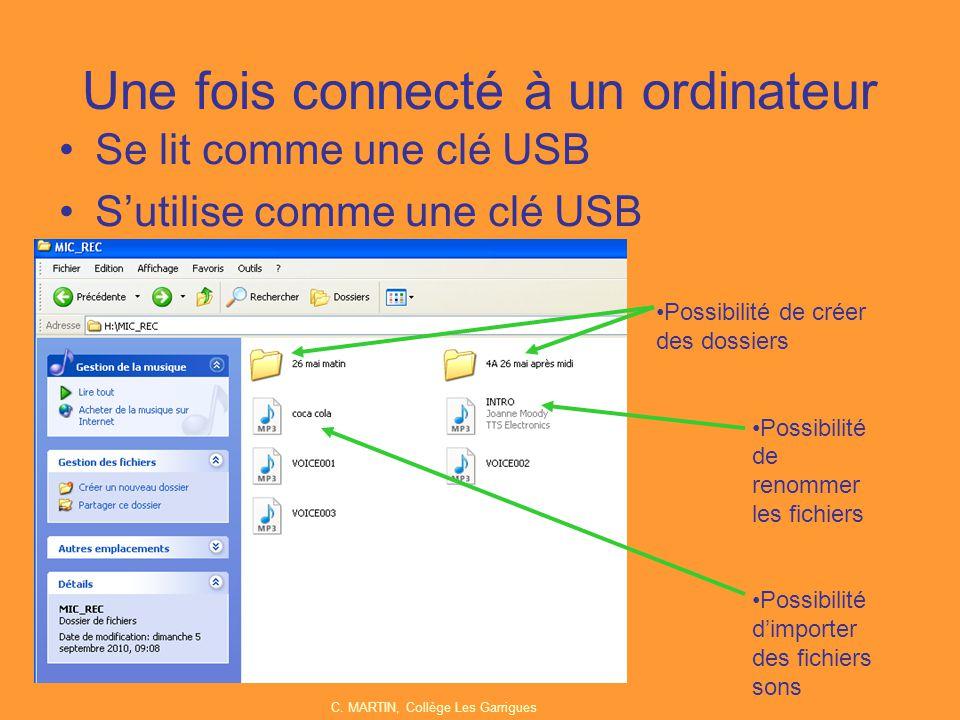 Une fois connecté à un ordinateur Se lit comme une clé USB S'utilise comme une clé USB Possibilité de créer des dossiers Possibilité de renommer les f