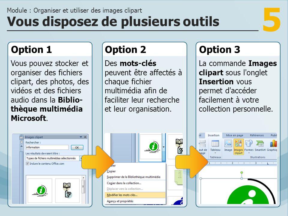 5 Option 1 Vous pouvez stocker et organiser des fichiers clipart, des photos, des vidéos et des fichiers audio dans la Biblio- thèque multimédia Microsoft.