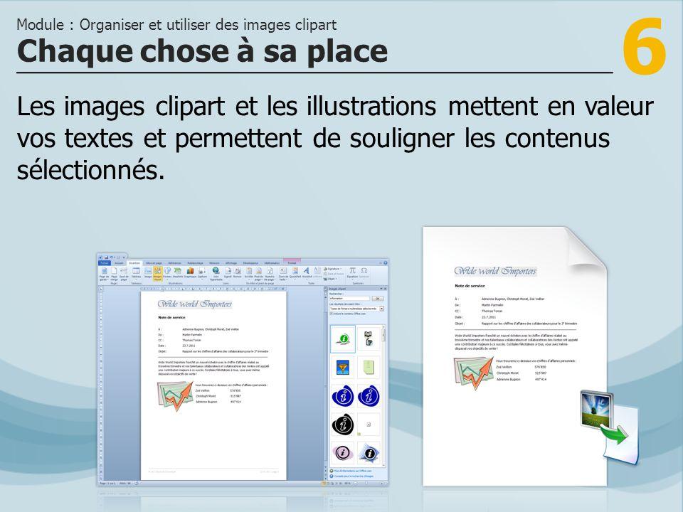 6 Chaque chose à sa place Module : Organiser et utiliser des images clipart Les images clipart et les illustrations mettent en valeur vos textes et permettent de souligner les contenus sélectionnés.