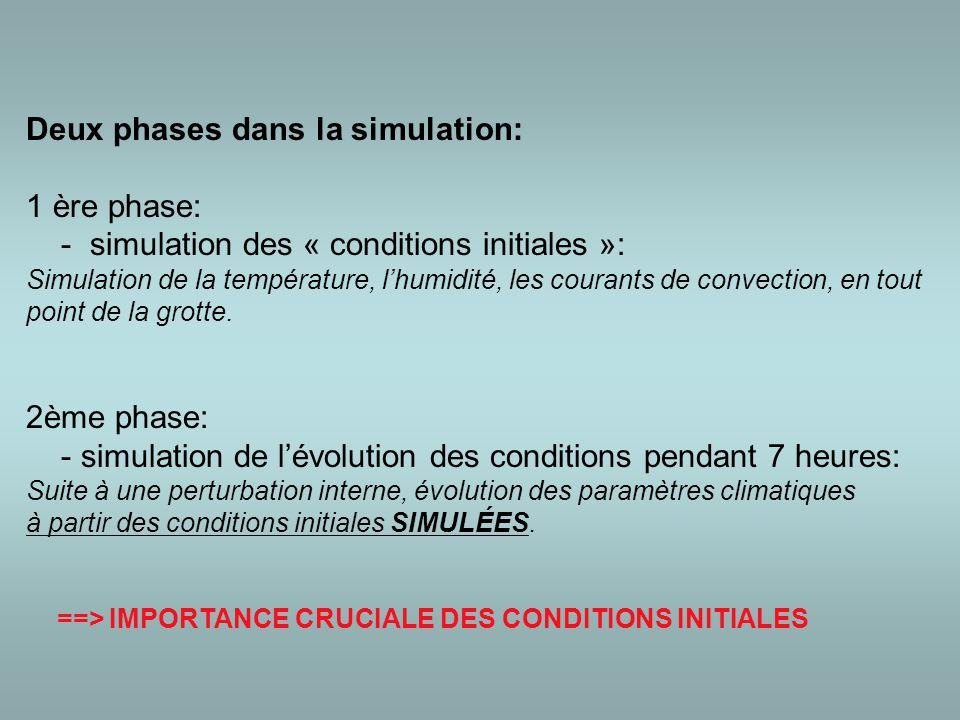 Deux phases dans la simulation: 1 ère phase: - simulation des « conditions initiales »: Simulation de la température, l'humidité, les courants de convection, en tout point de la grotte.
