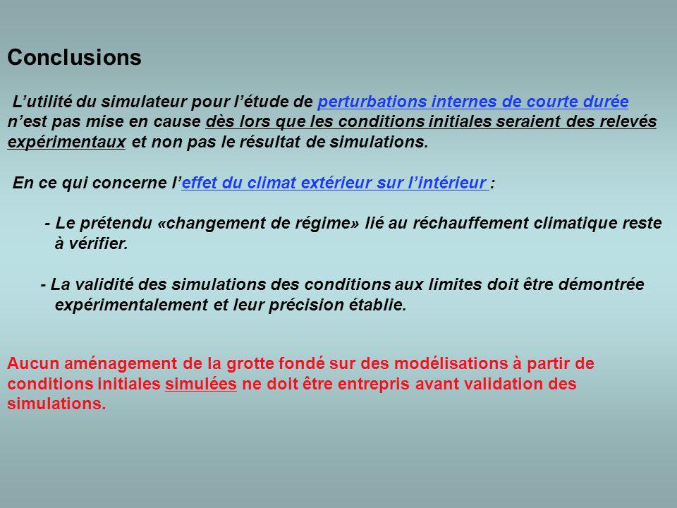 Conclusions L'utilité du simulateur pour l'étude de perturbations internes de courte durée n'est pas mise en cause dès lors que les conditions initiales seraient des relevés expérimentaux et non pas le résultat de simulations.