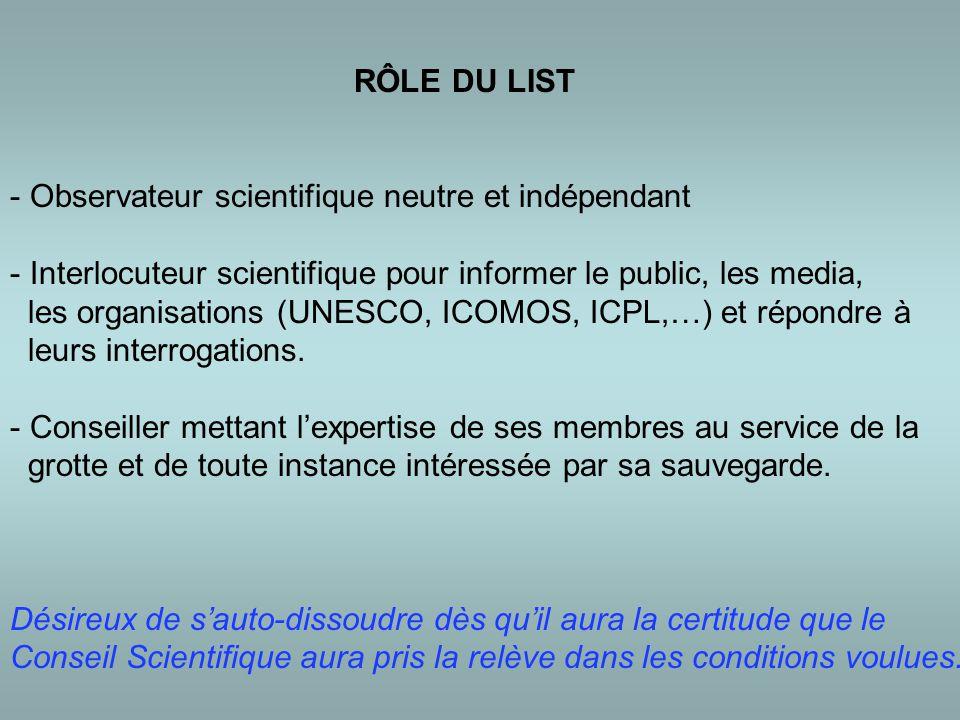 RÔLE DU LIST - Observateur scientifique neutre et indépendant - Interlocuteur scientifique pour informer le public, les media, les organisations (UNESCO, ICOMOS, ICPL,…) et répondre à leurs interrogations.