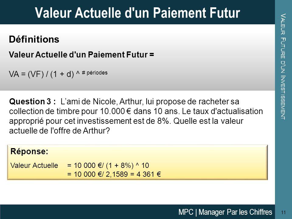 V ALEUR A CTUELLE D UNE S ÉRIE DE F LUX DE T RÉSORERIE F UTURS Définitions Valeur Actuelle d une Série de Flux de Trésorerie Futurs = VA = FT 1 / (1 + d) ^ 1 + FT 2 / (1 + d) ^ 2 + … + FT n / (1 + d) ^ n Avec: FT n = Flux de Trésorerie en periode n d = le taux d'actualisation approprié pour le projet 12 Valeur Actuelle d une Série de Flux de Trésorerie Futurs Question 4: Antoine envisage de louer une machine pour son garage qui va lui permettre d'économiser 500 € par année pendant les 3 ans du bail (nette des mensualités de location).