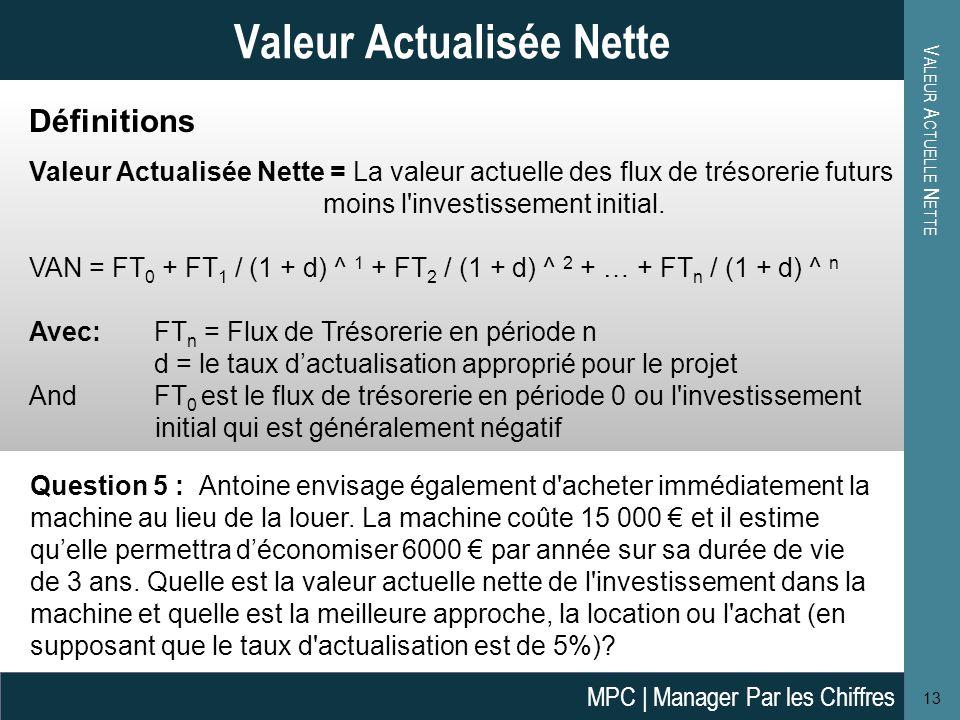 V ALEUR A CTUELLE N ETTE 14 Valeur Actuelle Nette Réponse: FT 0 = -15 000 € VA de FT 1 = 6 000 € / (1 + 5%) = 5 714 € VA de FT 2 = 6 000 €/ (1 + 5%)^ 2 = 5 442 € VA de FT 3 = 6 000 €/ (1 + 5%)^ 3 = 5 183 € VAN = -15 000 €+ 5 714 €+ 5 442 €+ 5 183 €= 1 339 € Tant que la VAN est positive, la décision doit être considérée d un point de vue financier.