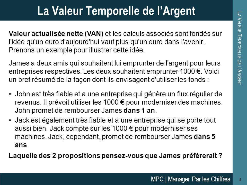L A V ALEUR T EMPORELLE DE L 'A RGENT 4 La Valeur Temporelle de l'Argent Alors, que pouvons-nous dire de la situation de James .
