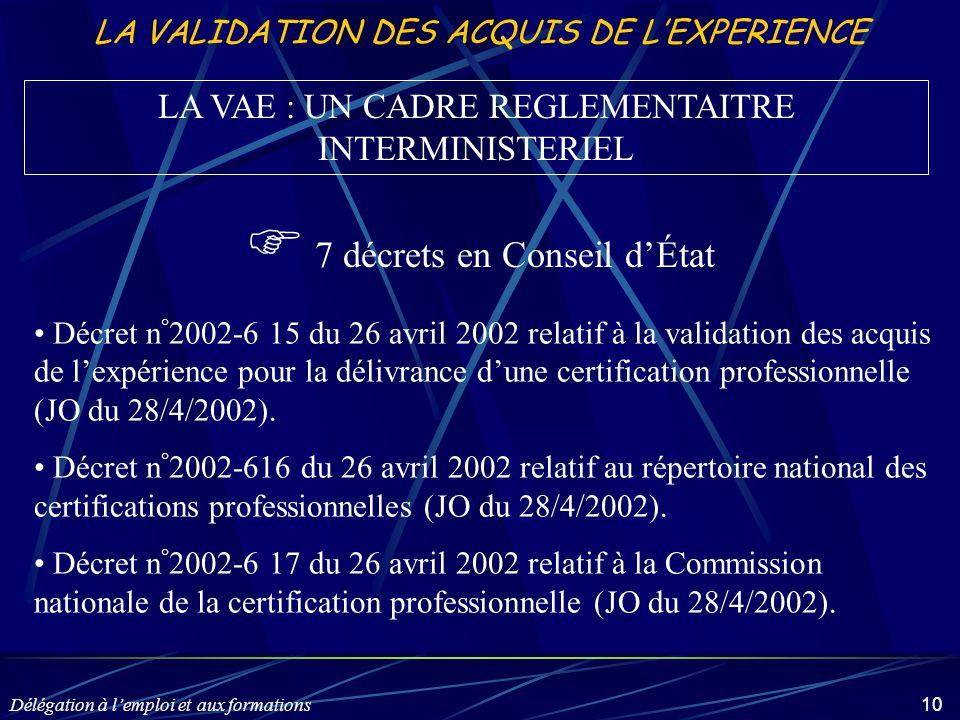 Délégation à l'emploi et aux formations 10 LA VALIDATION DES ACQUIS DE L'EXPERIENCE LA VAE : UN CADRE REGLEMENTAITRE INTERMINISTERIEL Décret n ° 2002-