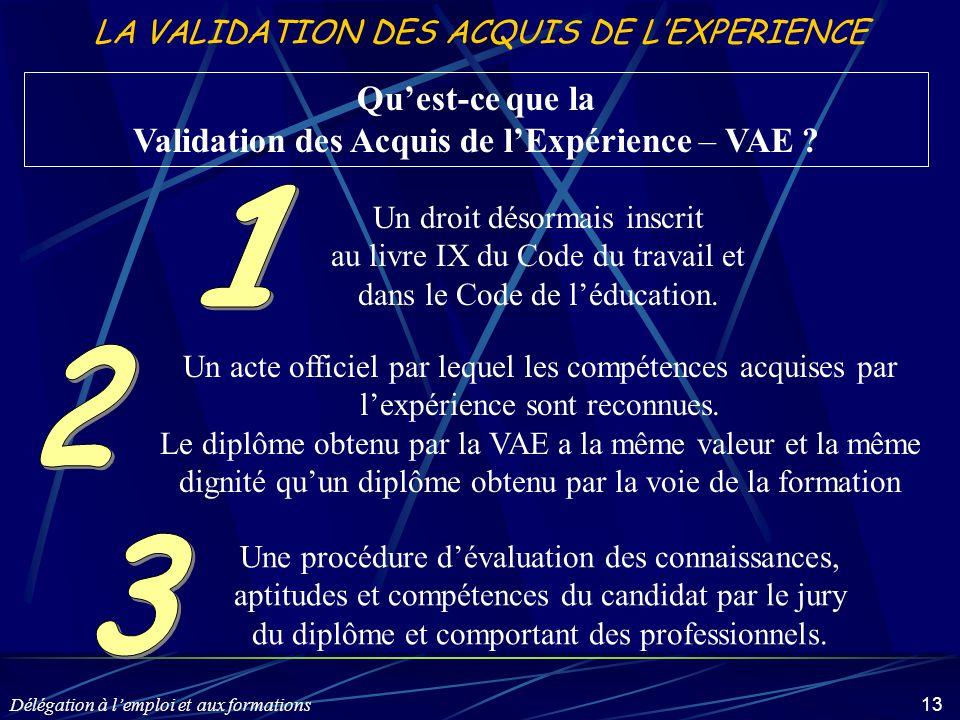 Délégation à l'emploi et aux formations 13 LA VALIDATION DES ACQUIS DE L'EXPERIENCE Qu'est-ce que la Validation des Acquis de l'Expérience – VAE ? Un