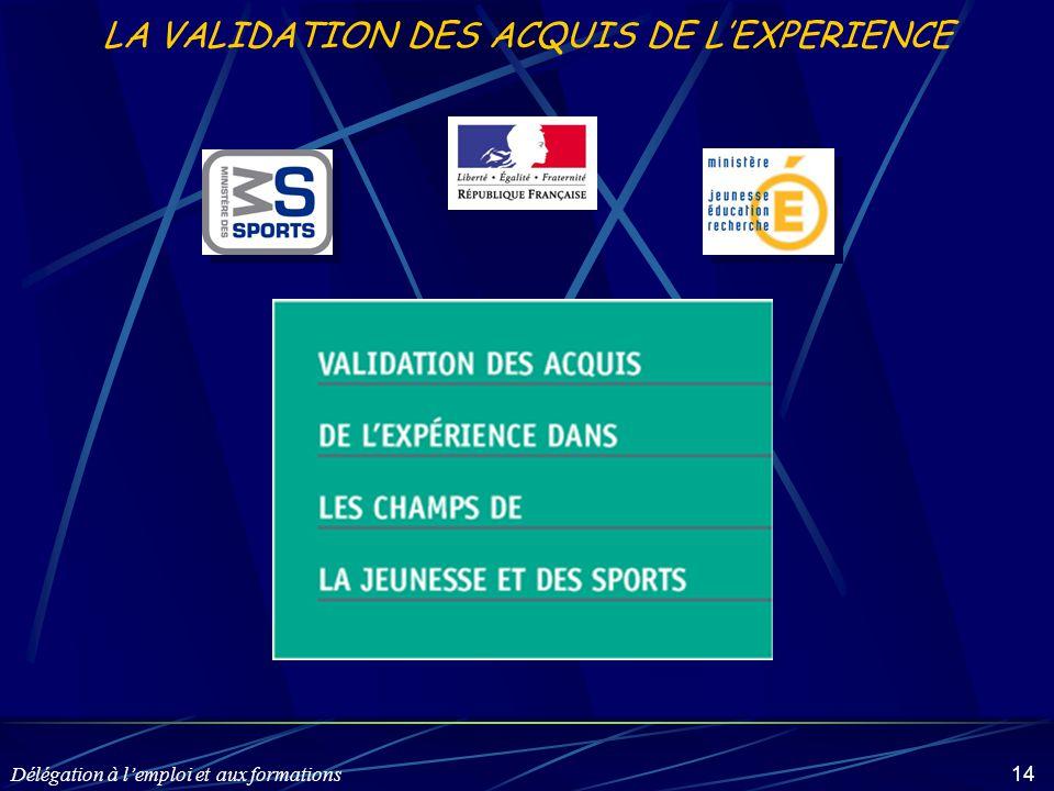 Délégation à l'emploi et aux formations 14 LA VALIDATION DES ACQUIS DE L'EXPERIENCE