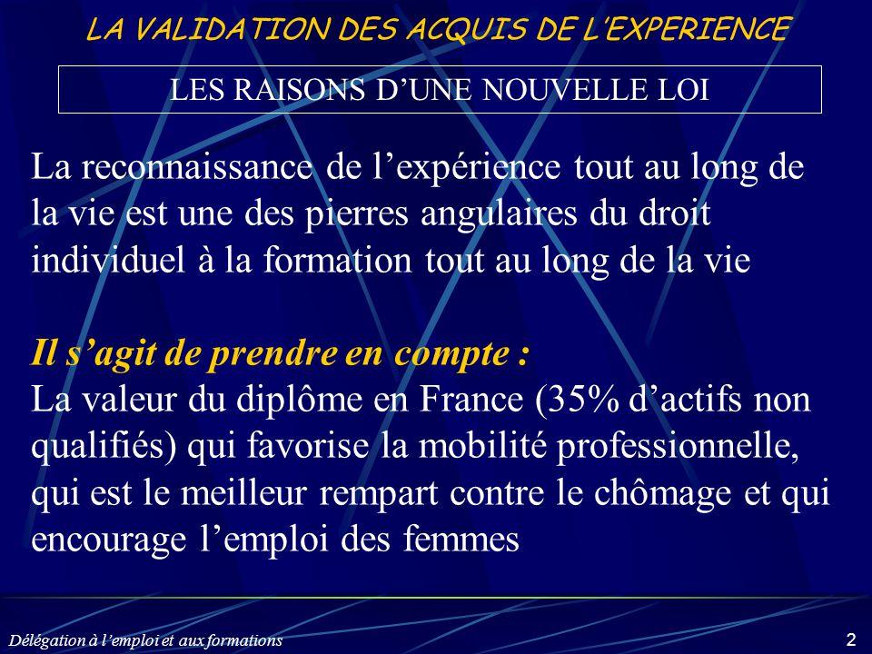 Délégation à l'emploi et aux formations 13 LA VALIDATION DES ACQUIS DE L'EXPERIENCE Qu'est-ce que la Validation des Acquis de l'Expérience – VAE .