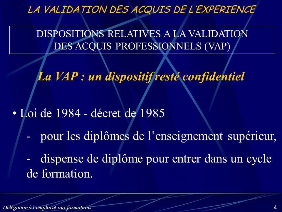 Délégation à l'emploi et aux formations 4 LA VALIDATION DES ACQUIS DE L'EXPERIENCE Loi de 1984 - décret de 1985 -pour les diplômes de l'enseignement s