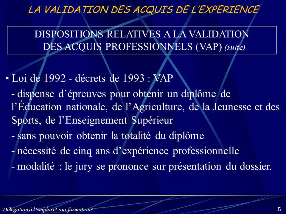 Délégation à l'emploi et aux formations 5 LA VALIDATION DES ACQUIS DE L'EXPERIENCE Loi de 1992 - décrets de 1993 : VAP -dispense d'épreuves pour obten