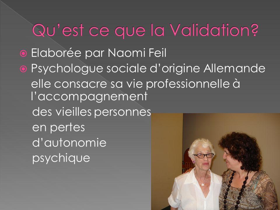  Naomi Feil se réfère à des théories humanistes qui guident la mise en œuvre de technique de communication, en maintenant une attitude fondée sur l'empathie: pour entretenir une relation de soin (prendre soin) bienveillante avec ces grands vieillards