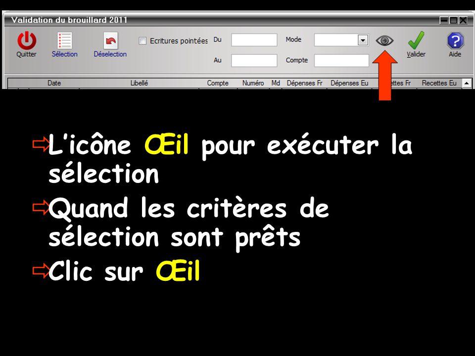  L'icône Œil pour exécuter la sélection  Quand les critères de sélection sont prêts  Clic sur Œil