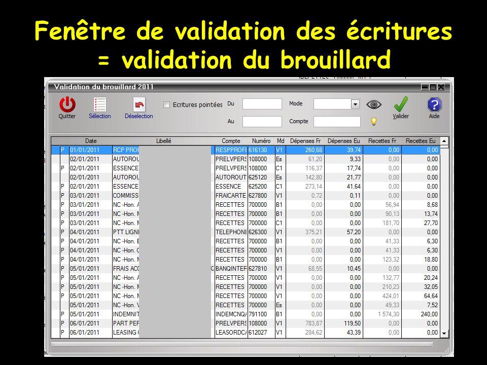 Fenêtre de validation des écritures = validation du brouillard