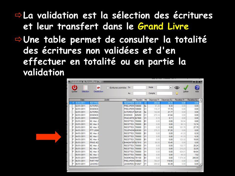  La validation est la sélection des écritures et leur transfert dans le Grand Livre  Une table permet de consulter la totalité des écritures non validées et d en effectuer en totalité ou en partie la validation