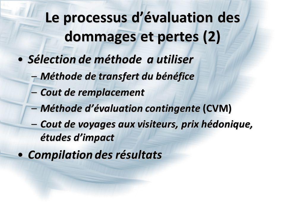 Le processus d'évaluation des dommages et pertes (2) Sélection de méthode a utiliserSélection de méthode a utiliser –Méthode de transfert du bénéfice –Cout de remplacement –Méthode d'évaluation contingente (CVM) –Cout de voyages aux visiteurs, prix hédonique, études d'impact Compilation des résultatsCompilation des résultats