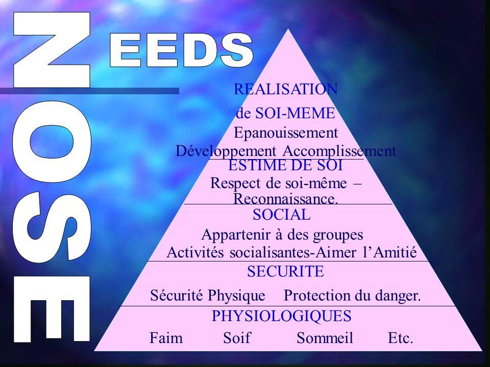 PHYSIOLOGIQUES Faim SoifSommeil Etc.SECURITE Sécurité Physique Protection du danger.
