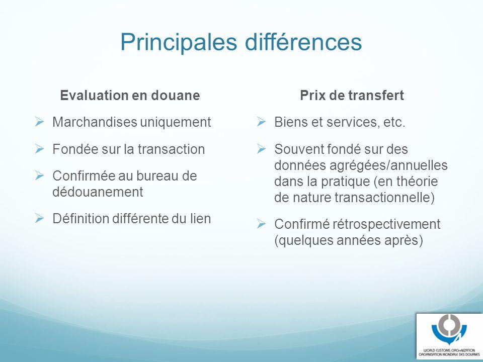 Principales différences Evaluation en douane  Marchandises uniquement  Fondée sur la transaction  Confirmée au bureau de dédouanement  Définition