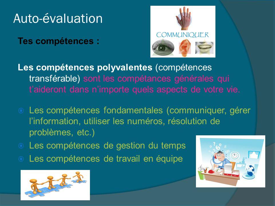 Auto-évaluation Tes compétences : Les compétences polyvalentes (compétences transférable) sont les compétances générales qui t'aideront dans n'importe