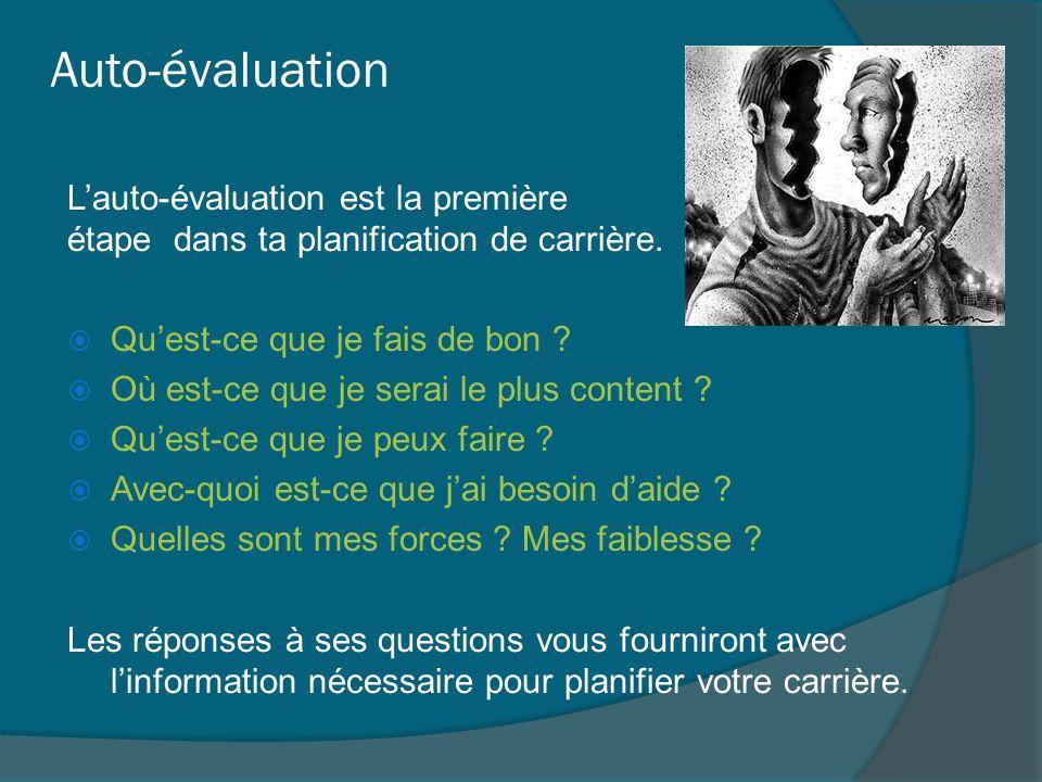 Auto-évaluation L'auto-évaluation est la première étape dans ta planification de carrière.  Qu'est-ce que je fais de bon ?  Où est-ce que je serai l
