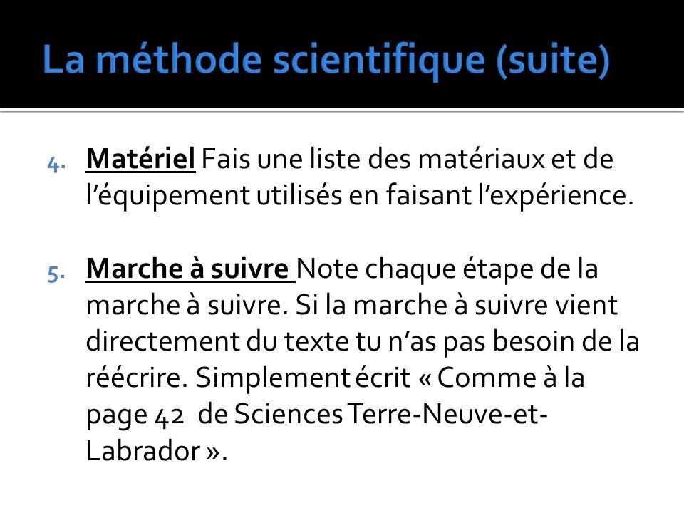 4. Matériel Fais une liste des matériaux et de l'équipement utilisés en faisant l'expérience. 5. Marche à suivre Note chaque étape de la marche à suiv