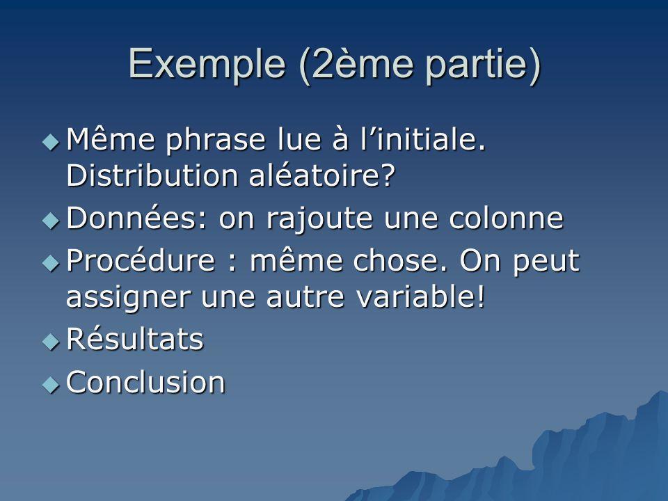 Exemple (2ème partie)  Même phrase lue à l'initiale. Distribution aléatoire?  Données: on rajoute une colonne  Procédure : même chose. On peut assi