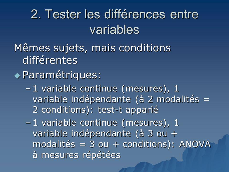 2. Tester les différences entre variables Mêmes sujets, mais conditions différentes  Paramétriques: –1 variable continue (mesures), 1 variable indépe