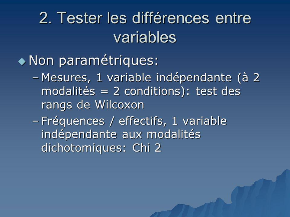 2. Tester les différences entre variables  Non paramétriques: –Mesures, 1 variable indépendante (à 2 modalités = 2 conditions): test des rangs de Wil