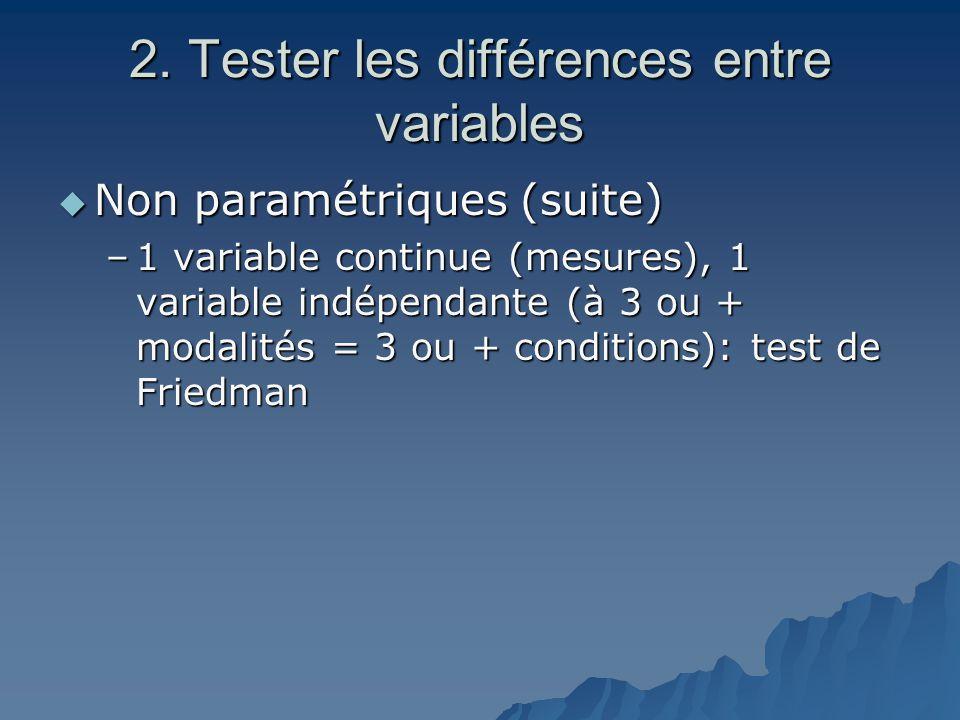 2. Tester les différences entre variables  Non paramétriques (suite) –1 variable continue (mesures), 1 variable indépendante (à 3 ou + modalités = 3