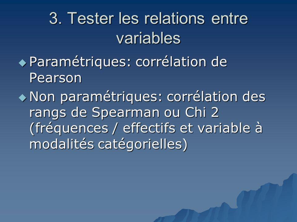 3. Tester les relations entre variables  Paramétriques: corrélation de Pearson  Non paramétriques: corrélation des rangs de Spearman ou Chi 2 (fréqu