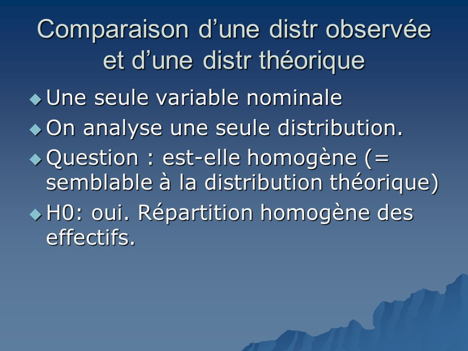 Comparaison d'une distr observée et d'une distr théorique  Une seule variable nominale  On analyse une seule distribution.  Question : est-elle hom