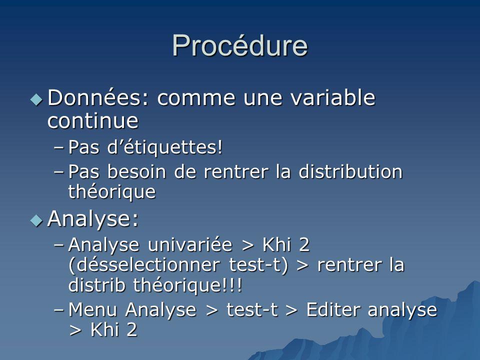 Procédure  Données: comme une variable continue –Pas d'étiquettes! –Pas besoin de rentrer la distribution théorique  Analyse: –Analyse univariée > K