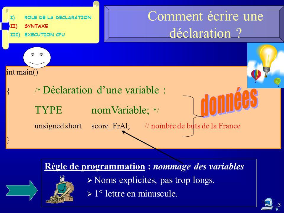 I)ROLE DE LA DECLARATION II)SYNTAXE III)EXECUTION CPU 3 Comment écrire une déclaration ? int main() {/* Déclaration d'une variable : TYPEnomVariable;