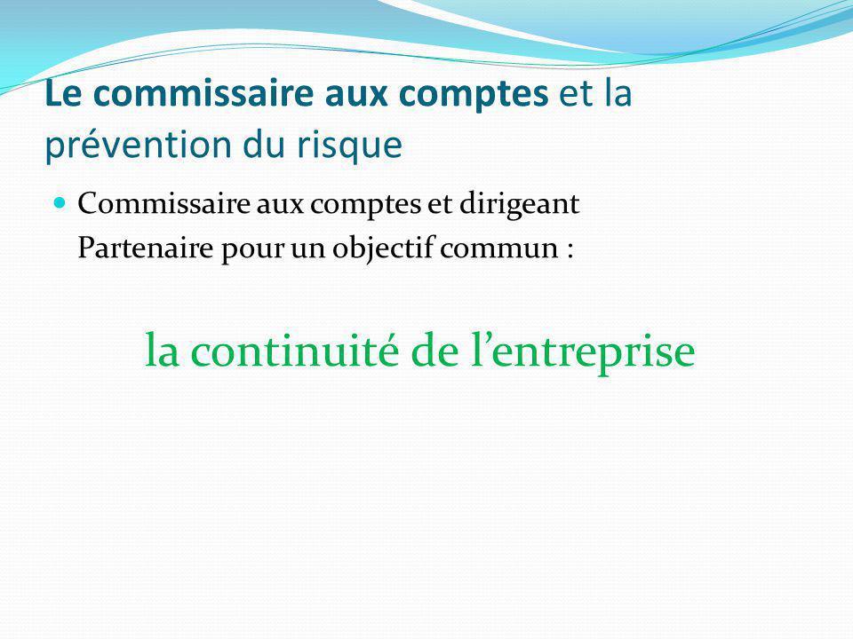 LE PRINCIPE DE CONTINUITE D'EXPLOITATION : un principe déterminant pour l'entité et le CAC Code de Commerce art.