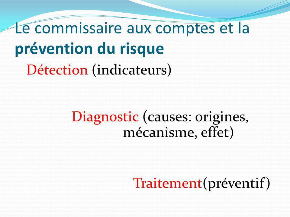 Le commissaire aux comptes et la prévention du risque Détection : des indicateurs aux signaux d'alerte : - Exploitation - Financier - Environnement économique général - Ressources humaines - Gouvernance.