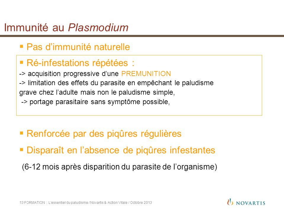 Immunité au Plasmodium FORMATION : L'essentiel du paludisme / Novartis & Action Vitale / Octobre 201313  Pas d'immunité naturelle  Ré-infestations r