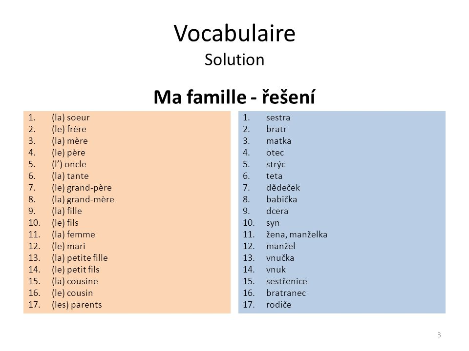 Vocabulaire Solution Ma famille - řešení 1.(la) soeur 2.(le) frère 3.(la) mère 4.(le) père 5.(l') oncle 6.(la) tante 7.(le) grand-père 8.(la) grand-mère 9.(la) fille 10.(le) fils 11.(la) femme 12.(le) mari 13.(la) petite fille 14.(le) petit fils 15.(la) cousine 16.(le) cousin 17.(les) parents 1.sestra 2.bratr 3.matka 4.otec 5.strýc 6.teta 7.dědeček 8.babička 9.dcera 10.syn 11.žena, manželka 12.manžel 13.vnučka 14.vnuk 15.sestřenice 16.bratranec 17.rodiče 3