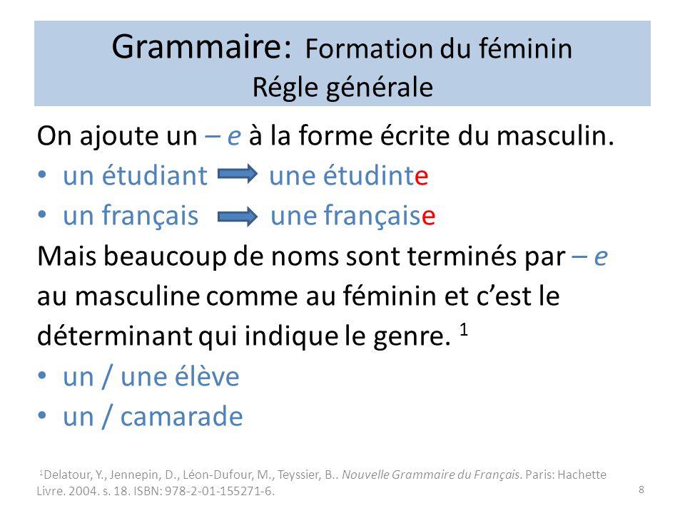 Grammaire: Formation du féminin Régle générale On ajoute un – e à la forme écrite du masculin.