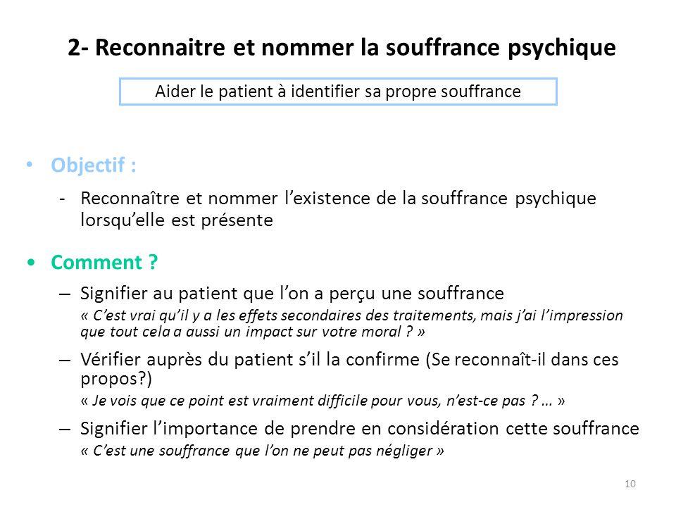 10 2- Reconnaitre et nommer la souffrance psychique Objectif : -Reconnaître et nommer l'existence de la souffrance psychique lorsqu'elle est présente Comment .