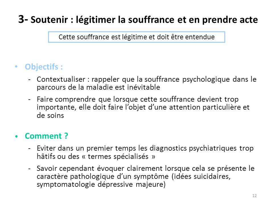 12 3- Soutenir : légitimer la souffrance et en prendre acte Objectifs : -Contextualiser : rappeler que la souffrance psychologique dans le parcours de