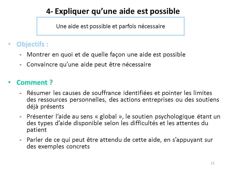 13 4- Expliquer qu'une aide est possible Objectifs : -Montrer en quoi et de quelle façon une aide est possible -Convaincre qu'une aide peut être néces