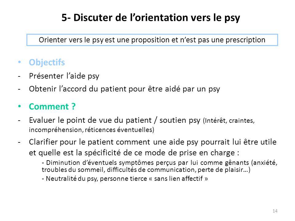 14 5- Discuter de l'orientation vers le psy Objectifs -Présenter l'aide psy -Obtenir l'accord du patient pour être aidé par un psy Comment ? -Evaluer