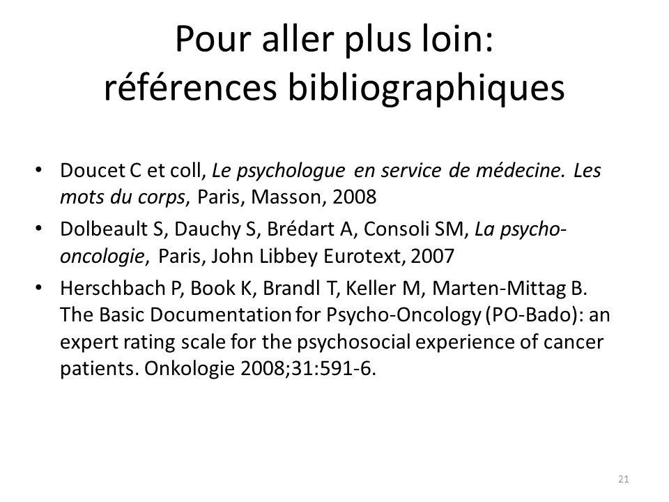 Pour aller plus loin: références bibliographiques Doucet C et coll, Le psychologue en service de médecine. Les mots du corps, Paris, Masson, 2008 Dolb