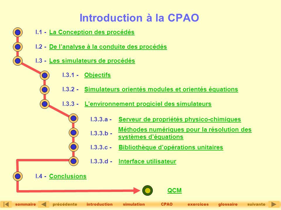 version 1.2© précédentesuivante sommaire simulationintroductionglossaireCPAOexercices Introduction à la CPAO I.1 -La Conception des procédés QCM I.2 -