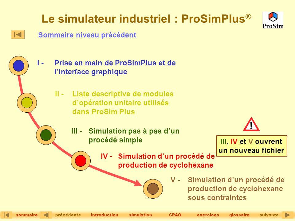 version 1.2© précédentesuivante sommaire simulationintroductionglossaireCPAOexercices Le simulateur industriel : ProSimPlus ® I - Prise en main de Pro
